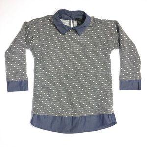 Ann Taylor 3/4 Sleeve Shirt Blouse Grey Chambray